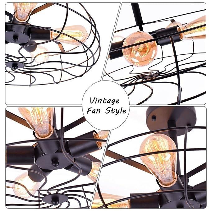 Ceiling Light Mklot Industrial Fan Style Wrought Iron Semi Flush