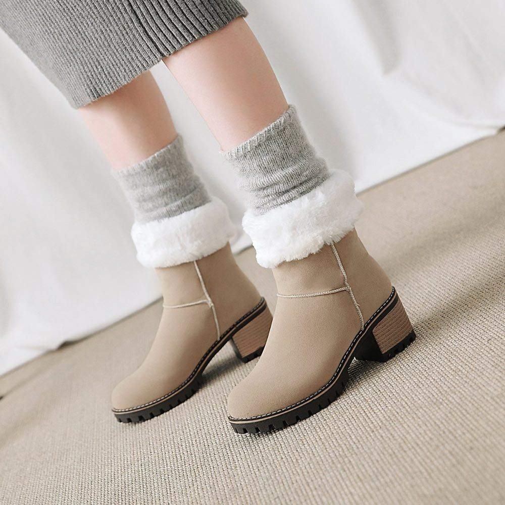 QINGMM Frauen Wildleder Martin Stiefel 2018 Herbst Winter Bequeme Mode Mode Mode Niedrigen Absatz Baumwolle Stiefel Polieren 39 EU 65a526