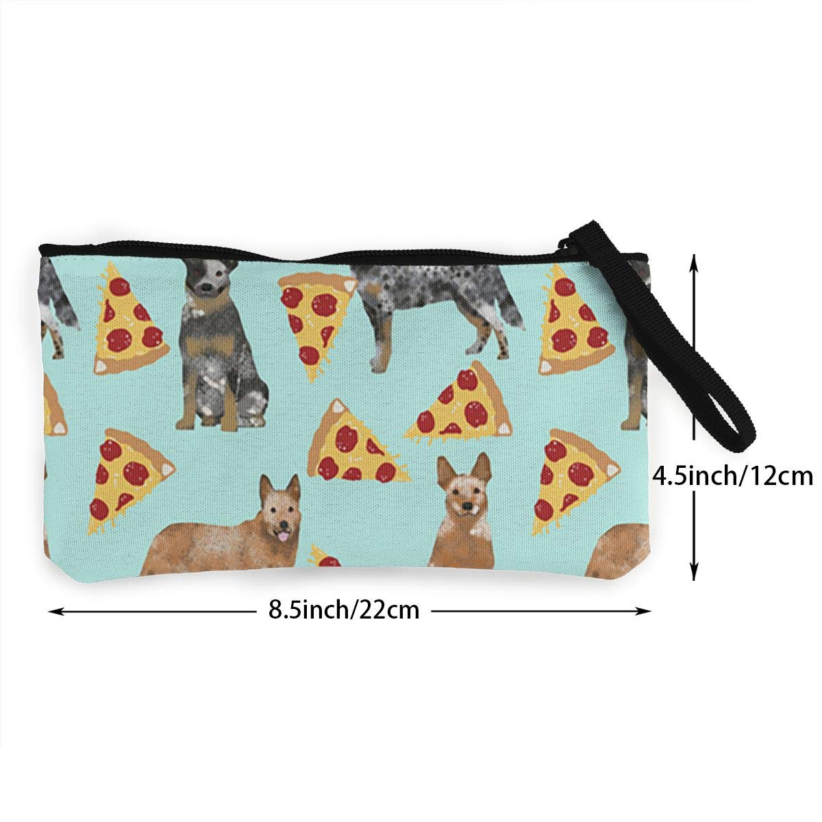 Make Up Bag Cellphone Bag With Handle DH14hjsdDEE Australian Cattle Dog Pizza Zipper Canvas Coin Purse Wallet