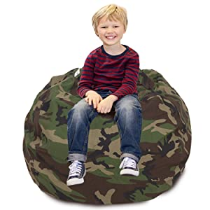 """CALA Stuffed Animal Storage Bean Bag Chair- Extra Large 38"""" Kids Soft Toy Storage - 100% Cotton Canvas Bean Bag Chair(Camouflage)"""