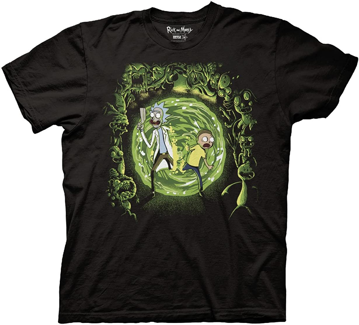 Ripple Junction Rick and Morty Adult Portal and The Monsters Crew T-Shirt