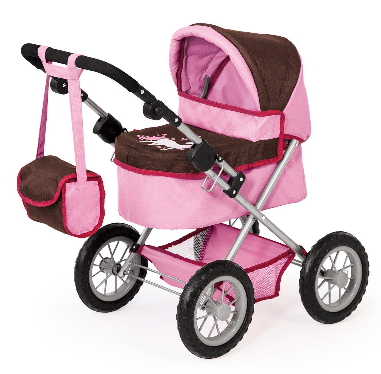 Bayer Design 13063 - Carrozzina per bambole regolabile, colore  rosa Marroneee, 68 Cm
