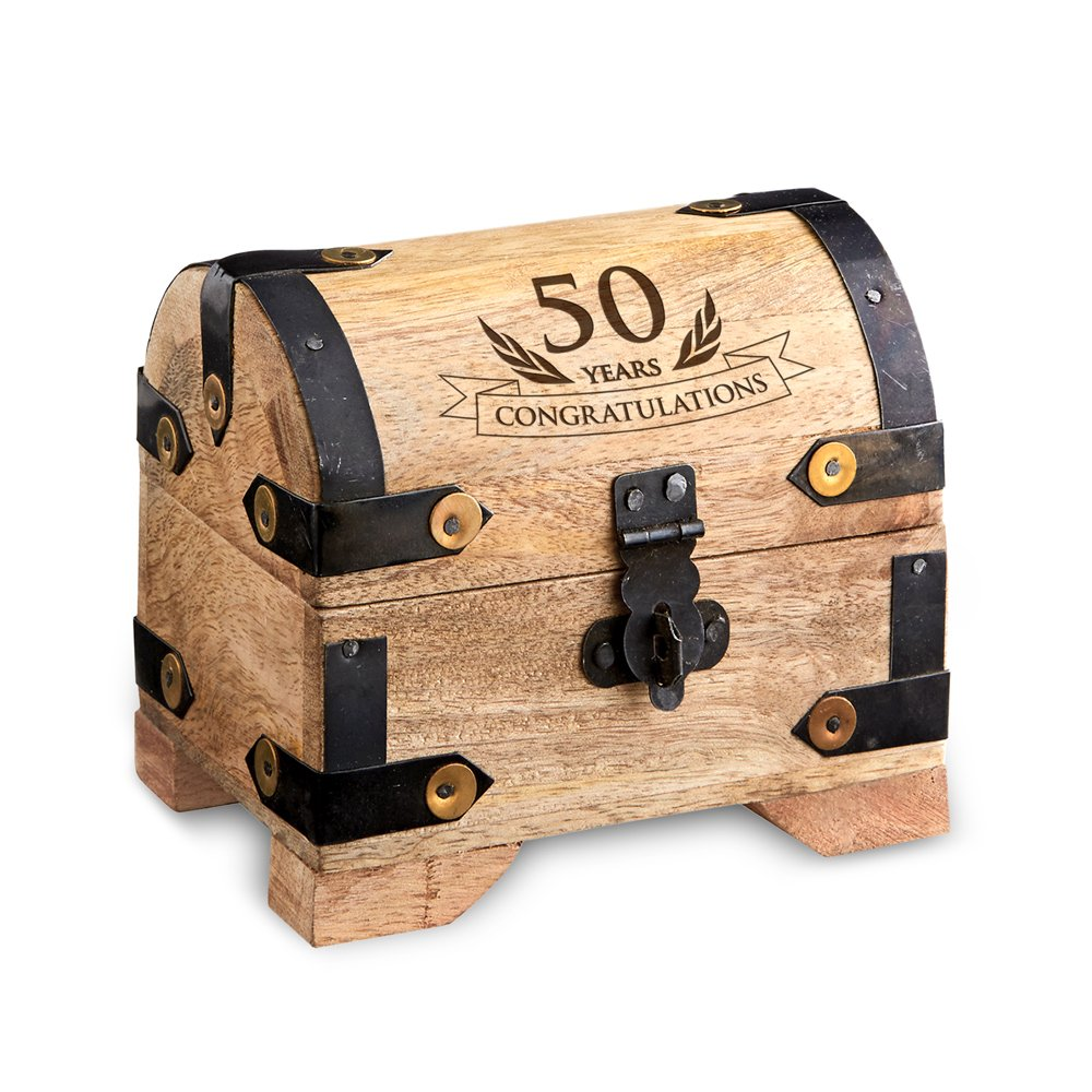 "Engraved Treasure Chest for 50th Birthday - Small - Light Wood - Jewelry Box - Money Box - Wooden Storage Box - Birthday Present Idea - 4"" (10 cm) x 3"" (7 cm) x 3.5"" (9 cm)"