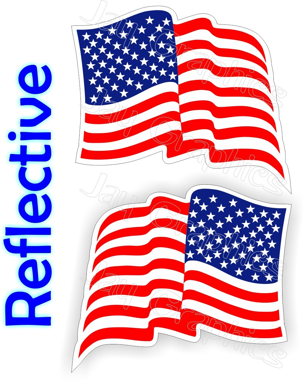 (2) REFLECTIVE Waving American Flags Hard Hat Stickers | Motorcycle Welding Helmet Decals | Stealth Labels USA Flag America Freedom Patriotic AR15 Lower MAG Laborer Foreman Survival Tactical Old Glory