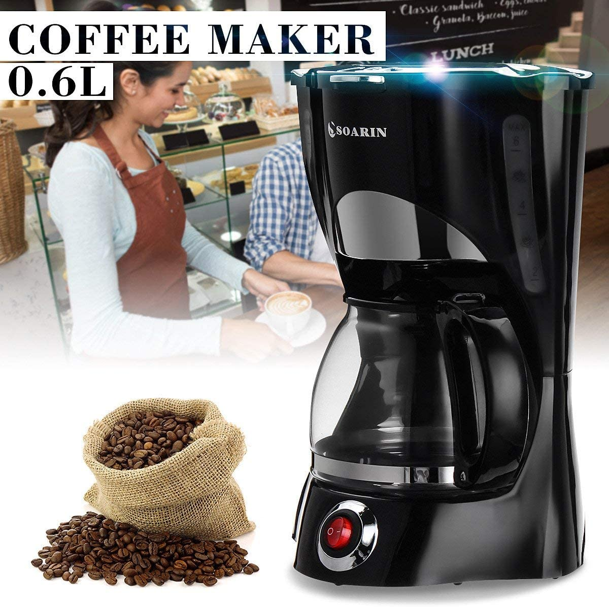 0.6L 550W 5Cups Electric Coffee Maker Espresso Moka Machine Cafe Spoon Brewer
