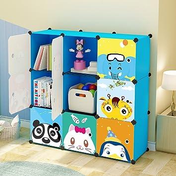 Good KOUSI Kidsu0027 Toy Storage Organizer Bookcase, 9 Storage Cube Blue