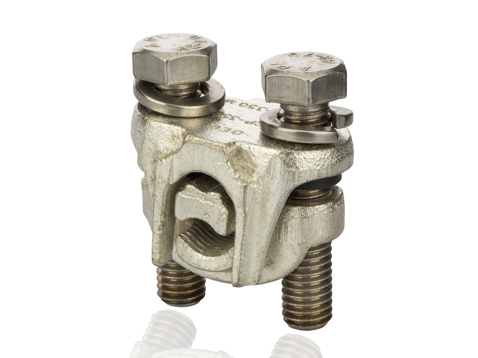 Tap Connector - Tap Connector - Two-Bolt Bronze-Plated for Aluminum, Copper and Steel, 350MCM-4/0 str Main Wire Range, 350 MCM-4 sol Tap Wire Range