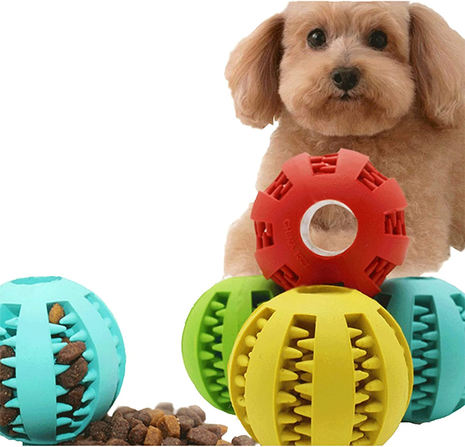 Pet Dog Ball Toys, Used for pet Teeth Cleaning, Chewing, Taking Things, IQ Treatment Ball Food Distribution Toys (Green)