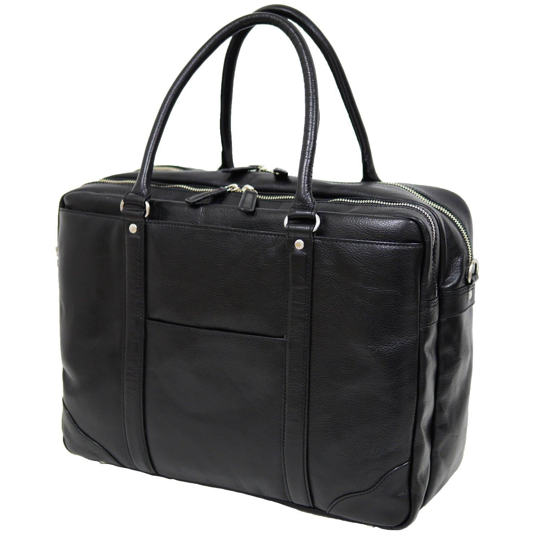 ブリーフケース 本革 メンズ B4サイズ対応 レディース ユニセックス 牛革 軽量 通勤 PC収納可能 ショルダーストラップ付 プライマーブリーフワイドダブル 海老名鞄 B01MG5EBAA ブラック