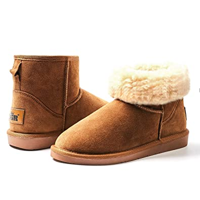 5a4e7717e7d ZGR Women's Classics Winter Snow Boots Cow Suede Leather Mid-Calf Fur Lined  Warm Shoes