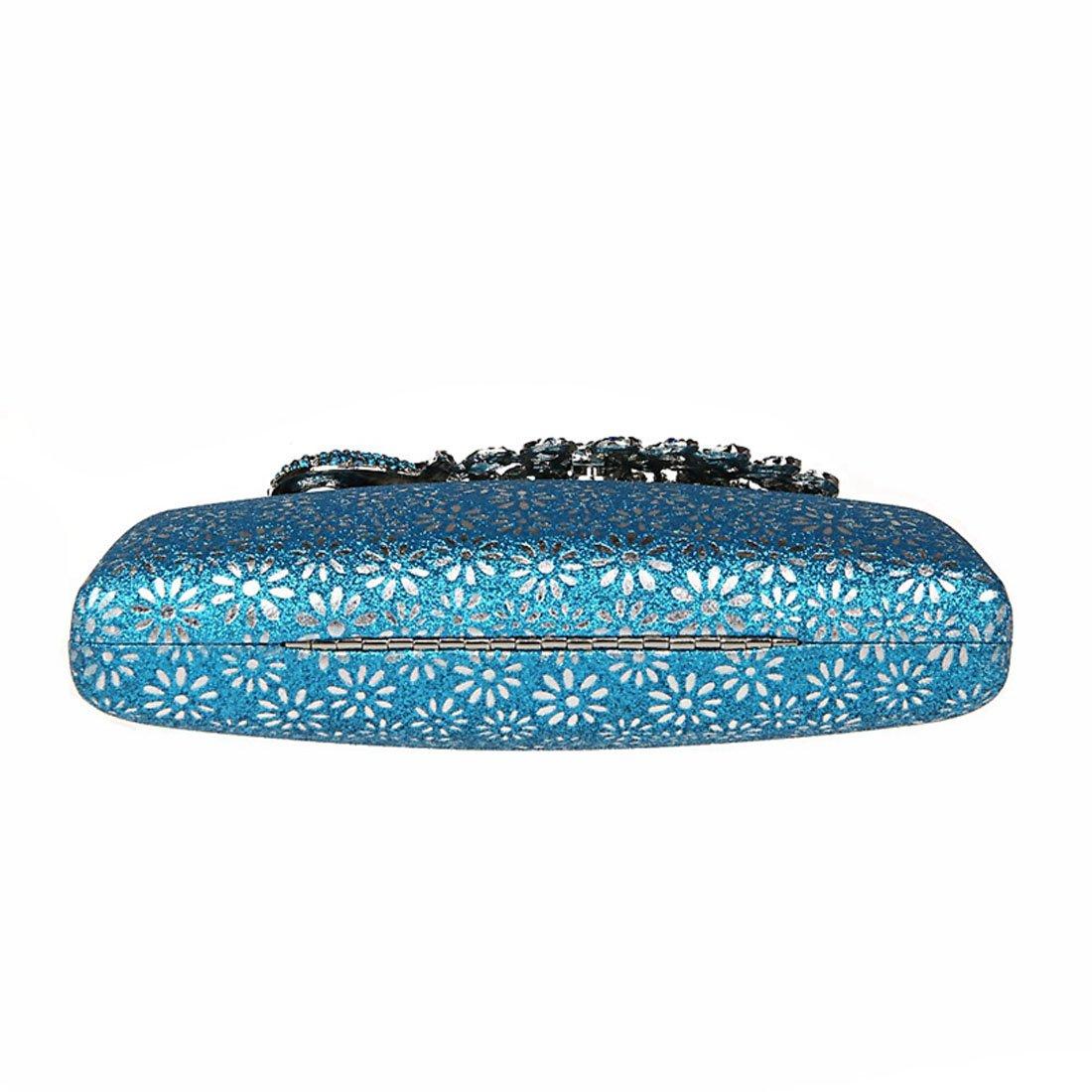 9143d877c0725 KAXIDY Damen Handtasche Clutch Glänzende Pfau-Kristall Buckle Damentasche  Tasche Abend Handtasche Abendtasche (Blau)  Amazon.de  Koffer