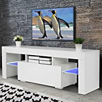 Bonnlo White TV Stand with LED Light Modern 51 Inch TV Stand TV Cabinet with Storage, Drawer and Shelves for Living Room Bedroom Furniture