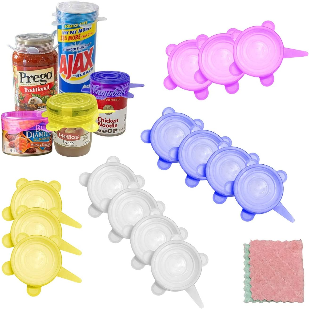 NINAEON Silicone Stretch Lids,15 Pack Small, Reusable Durable Food Storage Covers for Cups Small Bowls Cans Jars Fruits Vegetables, the Same Sizes of 2.5 Inch (Can Stretches to 3.8 Inches)