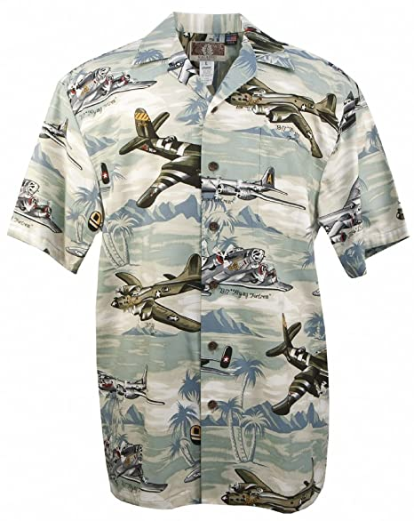 5ebce85f Amazon.com: US Bombers - Men's Hawaiian Print Aloha Shirt - Green: Clothing