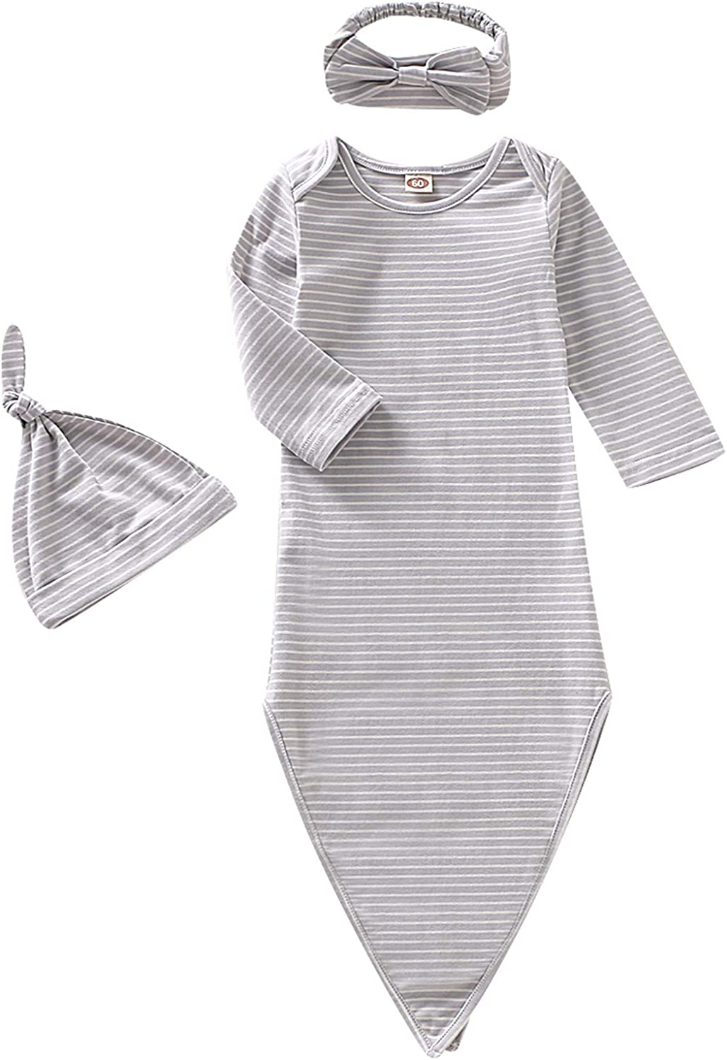 Dramiposs Baby Gowns Newborn Gender Neutral Knotted Sleepers Baby Coming Home Outfit