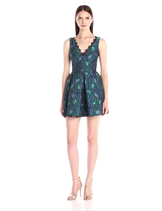 Amazon.com  Cynthia Rowley Women s Fit and Flare Textured Jacquard Dress 3f85a2a5e