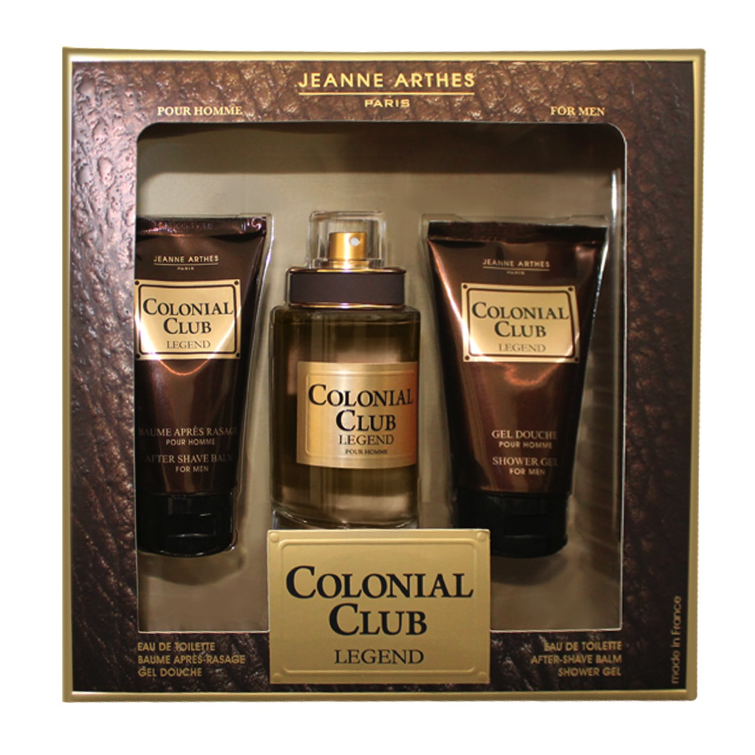 Jeanne arthes Cofanetto coloniale Club Legend Eau de Toilette 100 ml + Gel Doccia 75 ml + Apres Rasatura 75 ml PF02429F