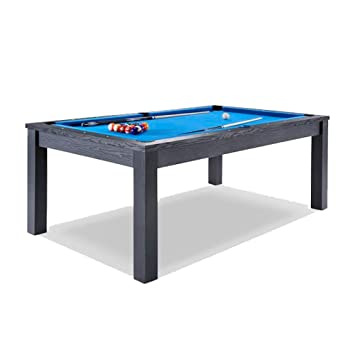FT In Dining Pool Table Multifunctional Billiard Table Office - Black pool table with blue felt