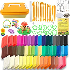 Holicolor 50 Colors Polymer Clay Kit Oven Bake Clay Modeling Clay with Different Polymer Accessories, Scuplting Tools (0.7 Ounces per Pack)