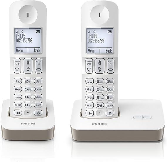 Philips D4002WC/FR - Teléfono inalámbrico (2 terminales, modo silencio), color blanco y gris (importado): Amazon.es: Electrónica