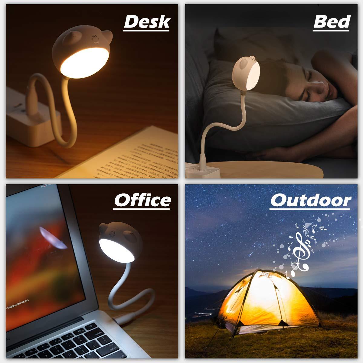 ELEGIANT USB LED Leselampe dimmbar warmwei/ß Touch-Control Leseleuchte Bettlampe Nachtlicht mit BT Lautsprecher,Flexibel Schwanenhals Nachttischlampe Schreibtischlampe f/ür Laptop PC Notebook Camping