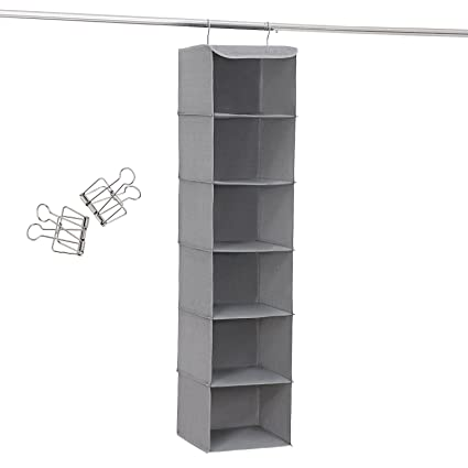 Attrayant SONGMICS 6 Shelf Hanging Closet Organizer Sturdy Collapsible Storage Shelves  For Clothes And Shoes Grey