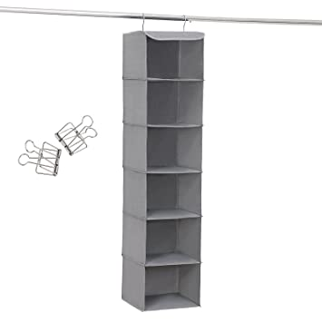 Songmics hängeregal hängeaufbewahrung mit 6 fächern innen mit metallrahmen 2 klammern gratis