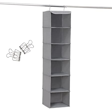 SONGMICS Hanging Storage With 6 Shelves Wardrobe Closet Organiser + 2  Clips, Grey 30 X