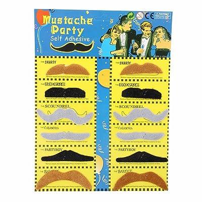 SODIAL(R) Lot de 12 Fausse Moustache Fake Adhesif Deguisement Costume Fete