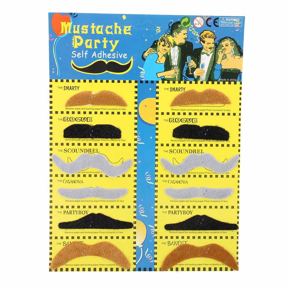 Costume-TOOGOO(R) Pack 12 Fake Mustache Fake Adhesive Dress up Costume Party