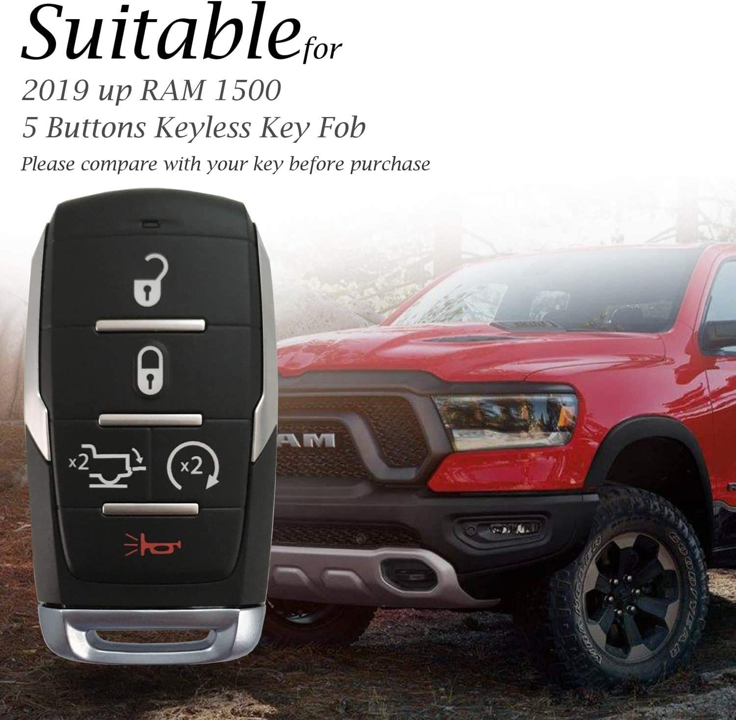 Rpkey Silicone Keyless Entry Remote Control Key Fob Cover Case protector Replacement Fit For 2019-2020 RAM 1500(5-Button)Black