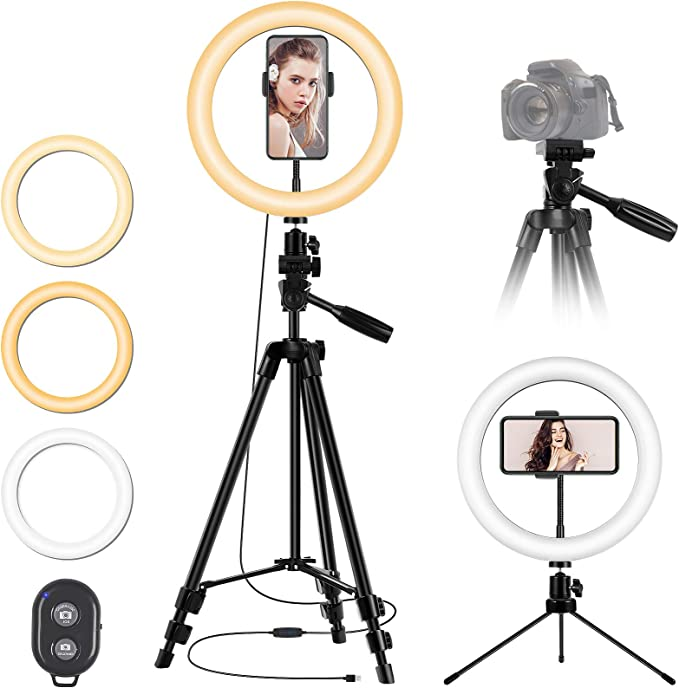 10'' LED Ring Light with Stand and Phone Holder, Desk Tripod Remote Shutter Circle Light for iPhone Camera Video Recording, TikTok YouTube Streaming Selfie Photo   Amazon