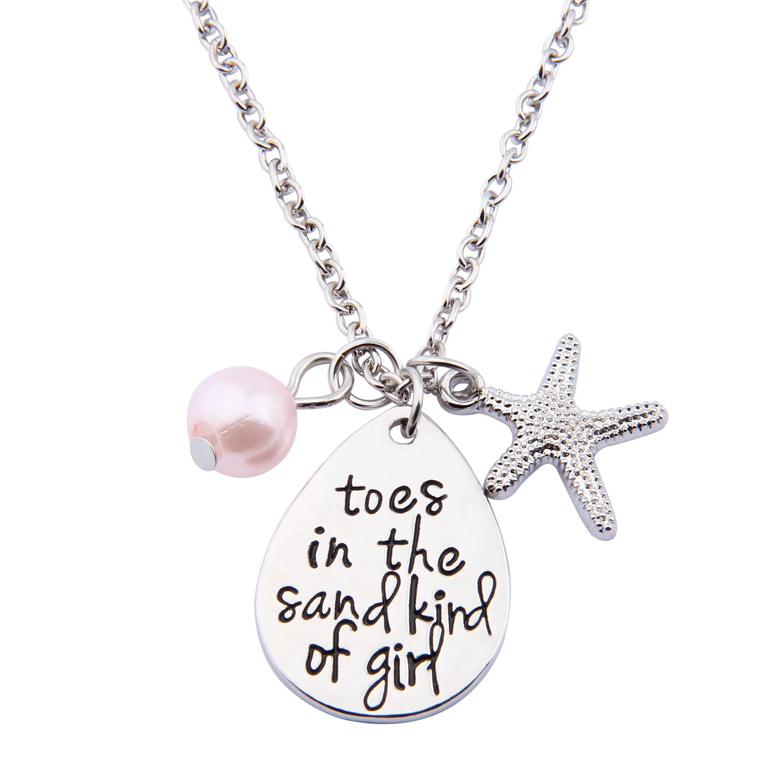 ENSIANTH Toes In The Sand Kind of Girl Engraved Charms Necklace Beach Jewelry with Starfish (waterdrop necklace) by ENSIANTH (Image #1)