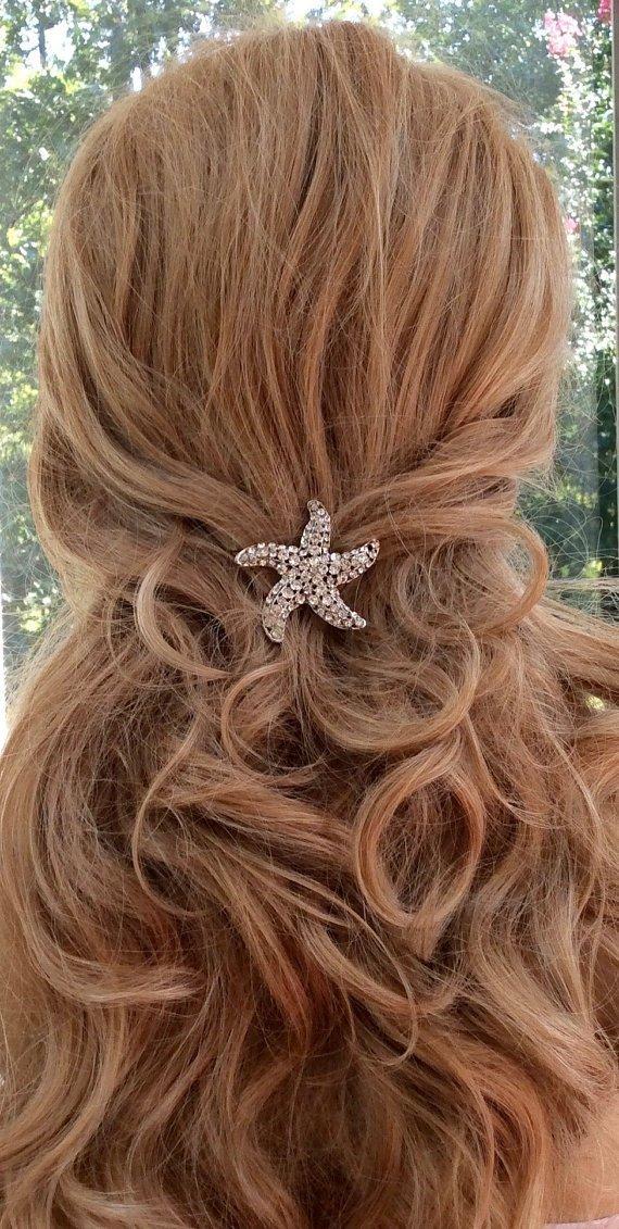 Destination Wedding Hair Comb, Crystal Starfish Hair Clip, Bridal Hair Accessory, Beach Wedding Jewelry