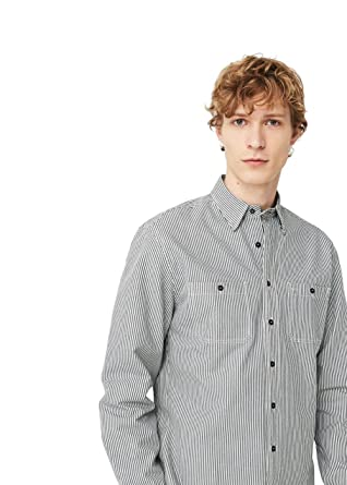 c9c9aab5dc MANGO MAN - Regular-fit striped cotton Printed shirt - Size:XXL -  Color:Ecru: Amazon.co.uk: Clothing