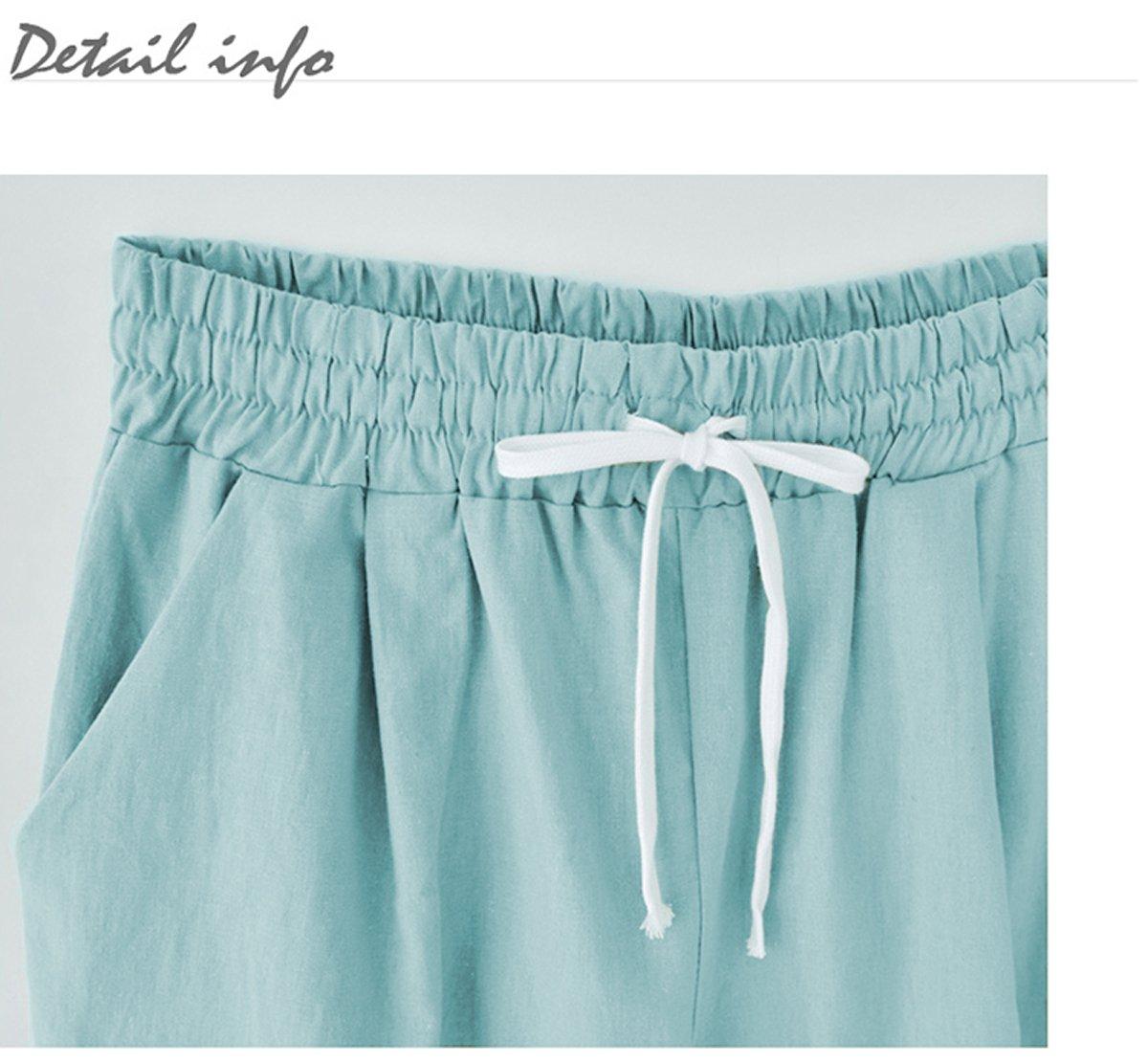 Fuwenni Women's Plus Size Casual Cotton Elastic Waist Knee-Length Bermuda Shorts with Drawstring Black XXL by Fuwenni (Image #2)