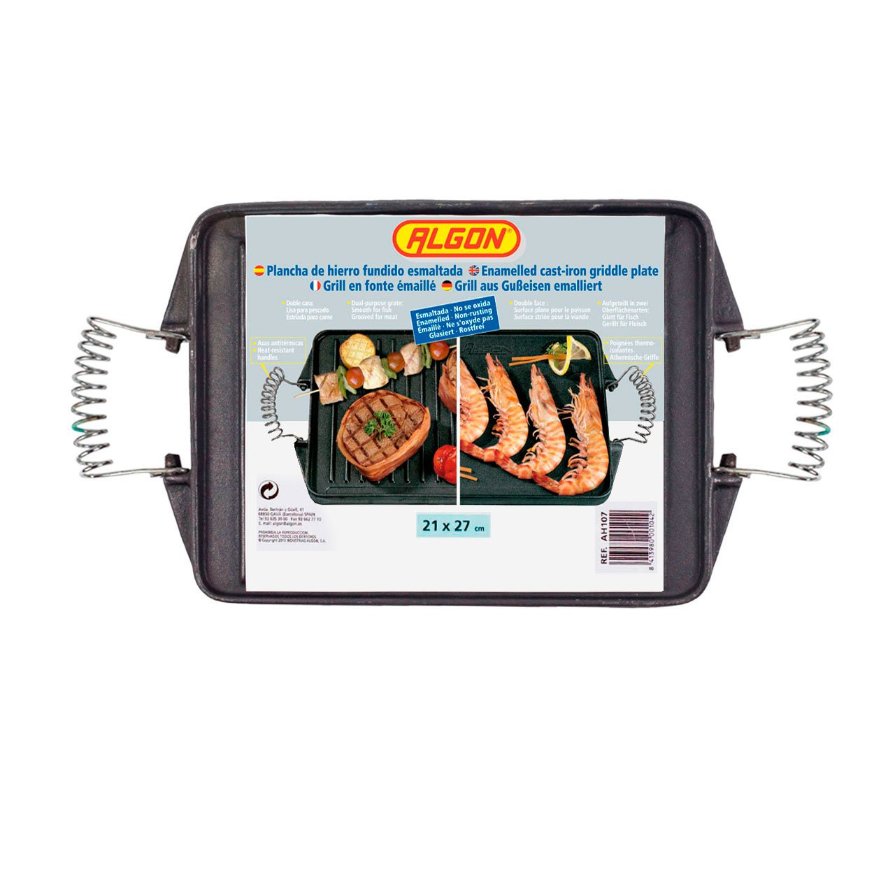 Algon AH107 - Plancha de cocina con doble cara, inoxidable, Rectangular: Amazon.es: Hogar