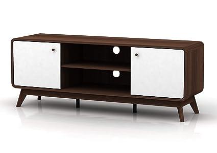 Carmen TV-Bank HiFi Board Lowboard Fernsehtisch Fernsehschrank  Skandinavisches Design Retro 2 Türen 2 Fächer (weiß/walnussfarben)