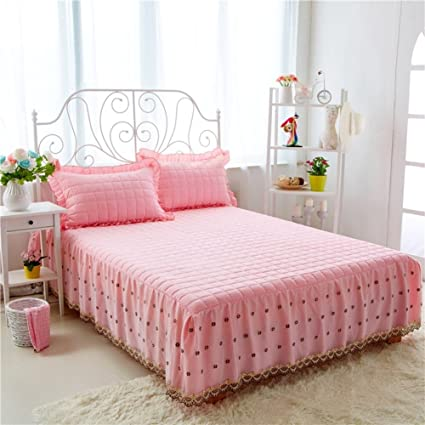 Gx&Xd Bed Skirt Lace Bedspread Single Solid Color Bed Sets Bed Cover Non-Slip Sheets-A 180x200cm(71x79inch)