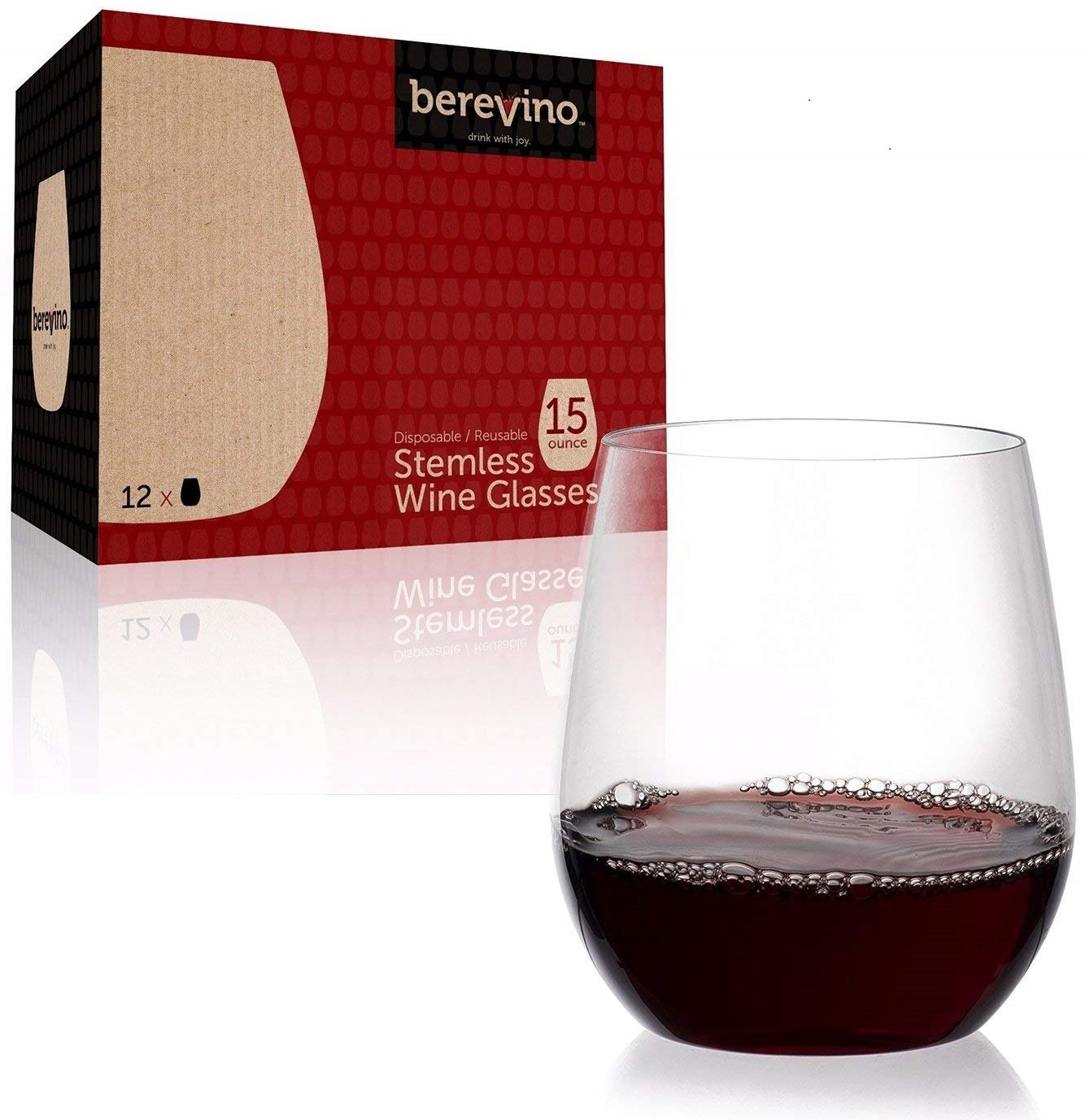 12 Stemless Plastic Wine Glasses - 15 oz. | Unbreakable Wine Glasses | Shatterproof Wine Glass | Plastic Drinking Glasses | Vino Wine Cups | Disposable Wine Glasses | Party Wine Glasses Set [Berevino]