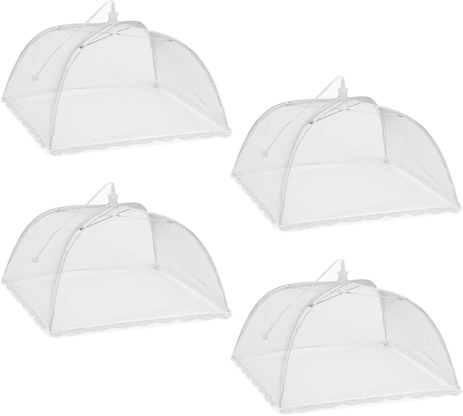 HULISEN 4 Pack Mesh Food Covers, Large Pop-Up Collapsible and Reusable Food Tent Umbrella Screens for Outdoors, Party, Picnic, BBQ, Keep Plant Away from Flies, Mosquitoes