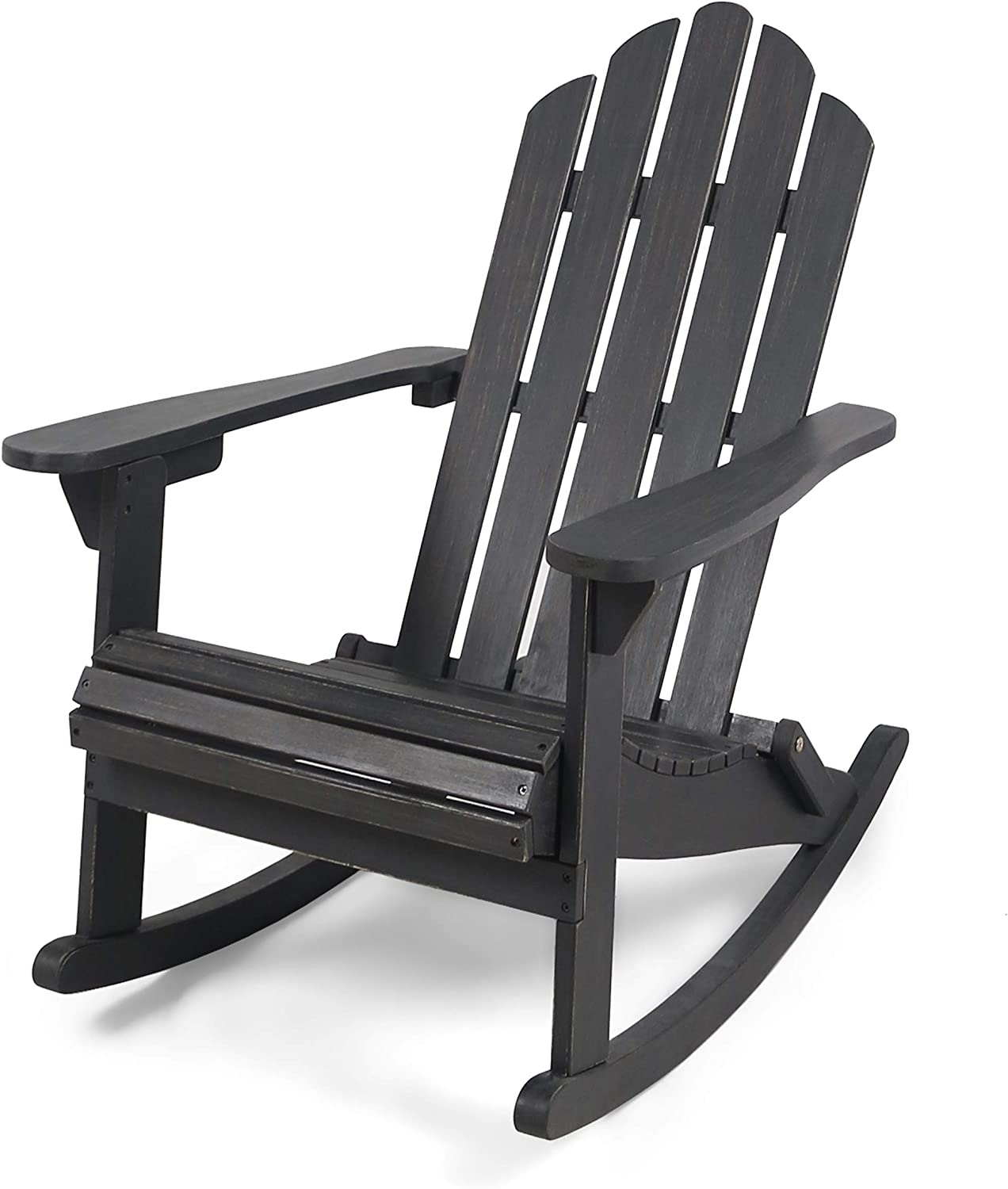 Christopher Knight Home 305379 Cara Outdoor Adirondack Acacia Wood Rocking Chair, Dark Gray Finish