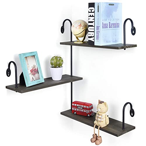 Olakee Floating Shelves Wall Mounted 3 Tier Rustic Wood Wall Shelves with Large Storage L16.9 x W5.9 inch for Bedroom Kitchen Bathroom Weathered Grey
