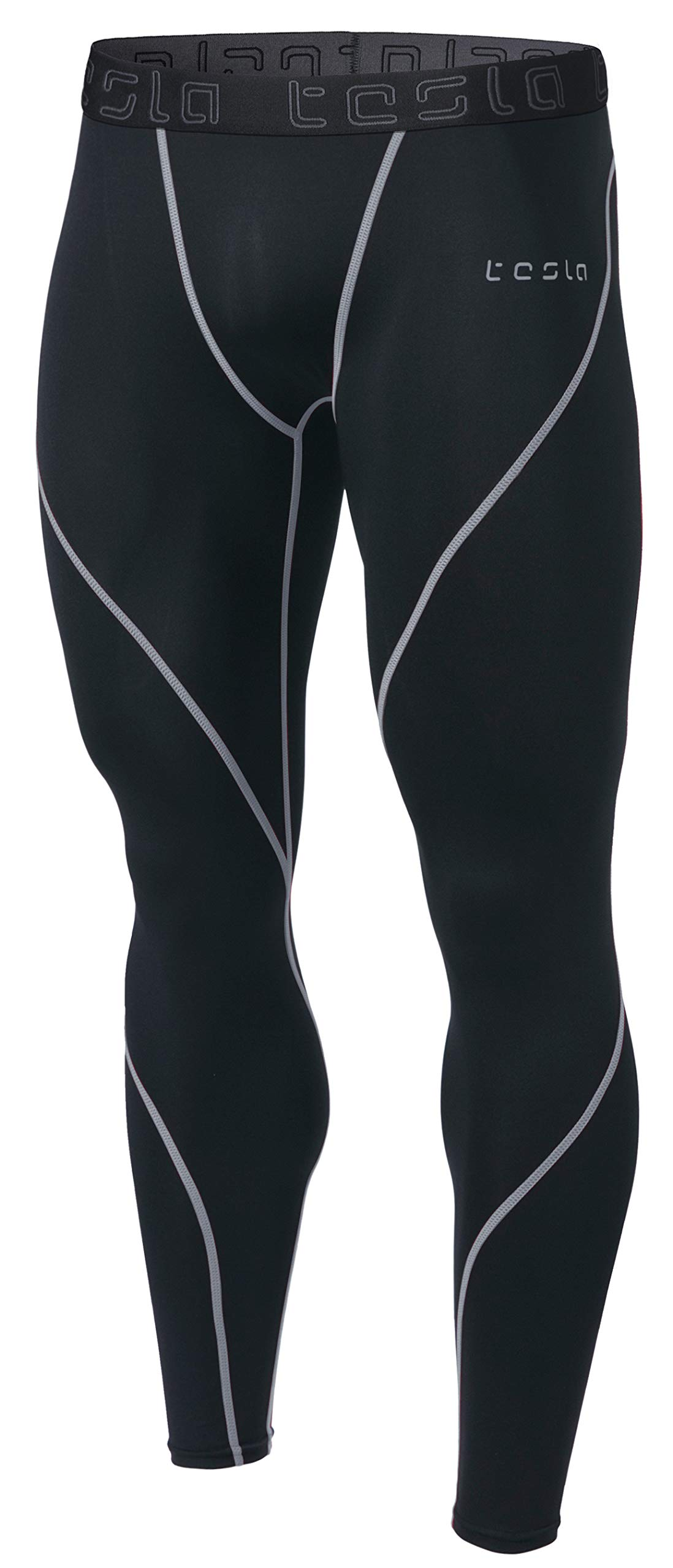 TSLA Men's Compression Pants Running Baselayer Cool Dry Sports Tights, A Athletic(mup19) - Black & Light Grey, 2X-Large