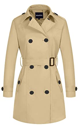 5318968514d Wantdo Women s Double-Breasted Long Trench Coat with Belt Khaki X-Small