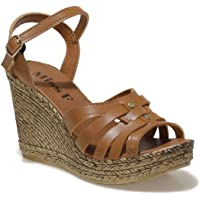 DS21065 1FX Taba Kadın Dolgu Topuklu Sandalet