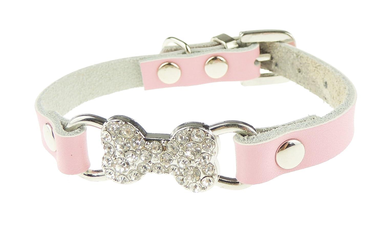 Splendida in morbida pelle extra sparkly diamante osso piccolo cane gatto gattino collare