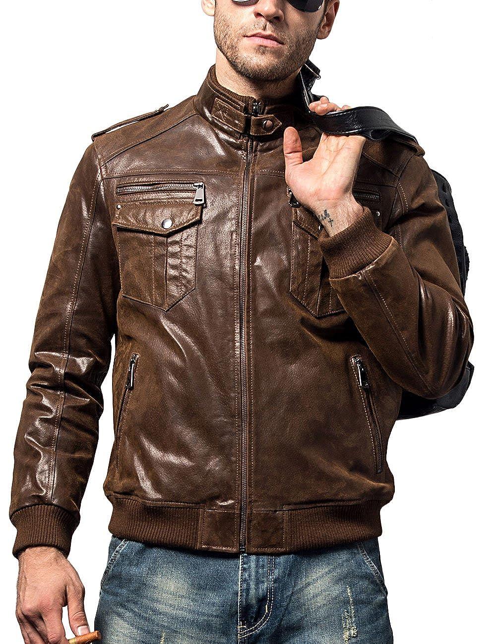 Amazon.com: FLAVOR - Chaqueta de piel para hombre, estilo ...