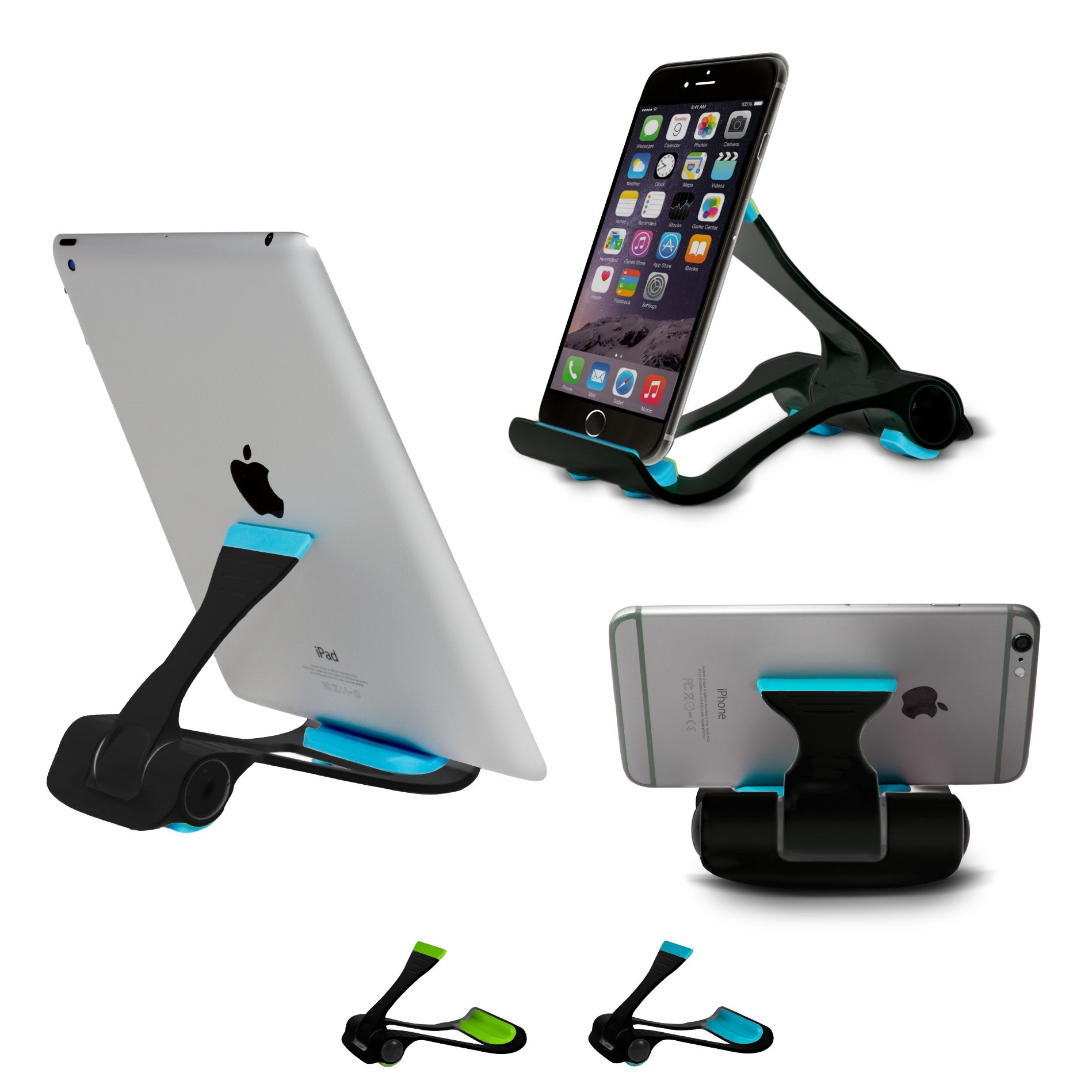 Tablet and Cell Phone Stand, Holder, Mount for Apple iPad, iPhone, Samsung Galaxy Tab, Kindle, Fit to Any Devices from 4''-12'' by SIME-ON - (Black-Blue)