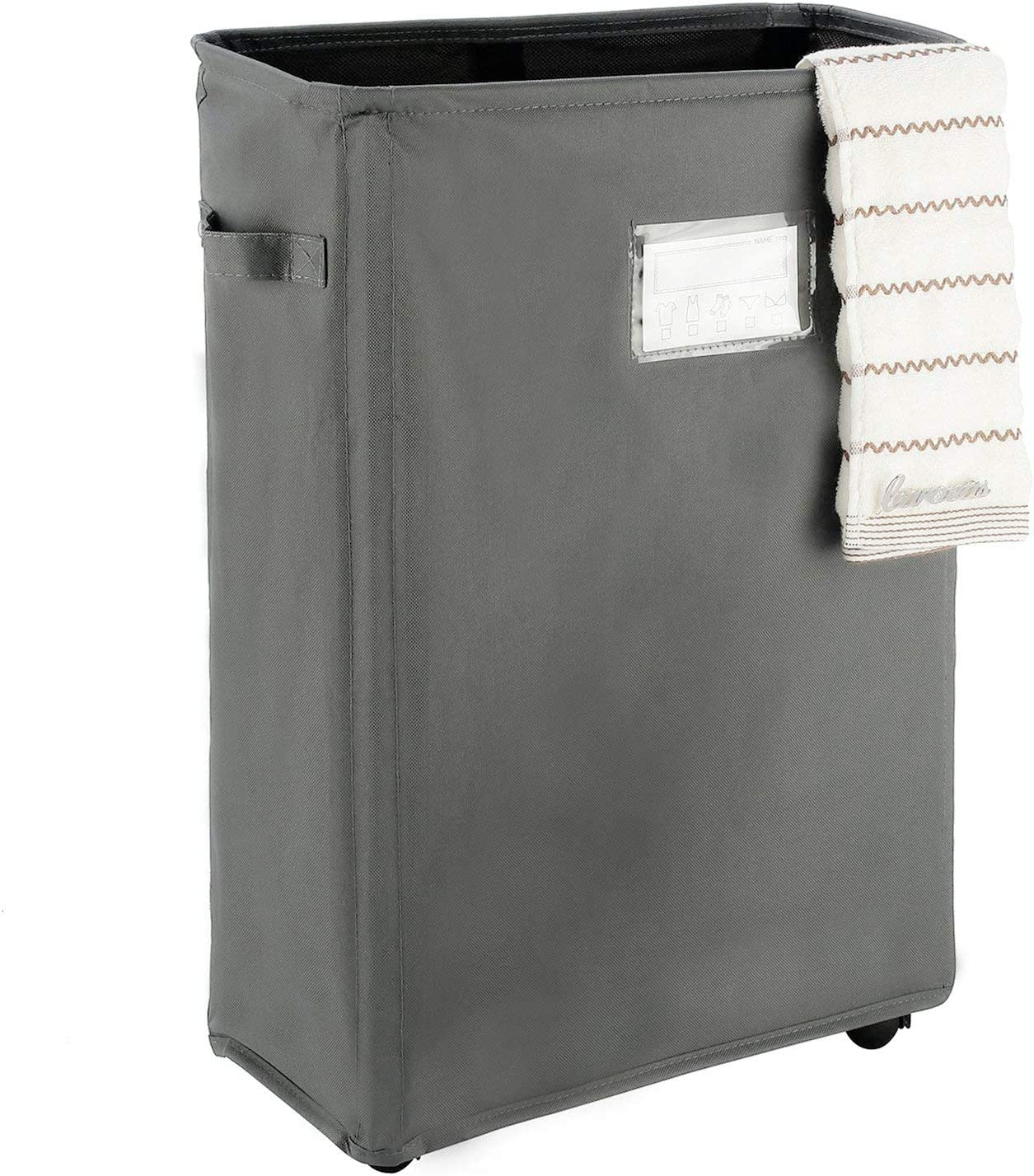 """Caroeas 22"""" Slim Rolling Laundry Basket with Card Waterproof Laundry Storage Hamper Corner Fittable Storage Bag Collapsible Rolling Hamper Flexible Laundry Bag On Wheel For Home,Office (Slim 22"""",Grey)"""